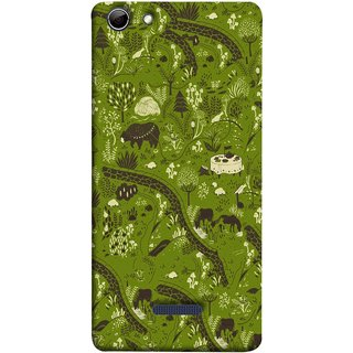 FUSON Designer Back Case Cover for Micromax Canvas Selfie 3 Q348 (Green Grass Cow Mushrooms Leaves Branches )