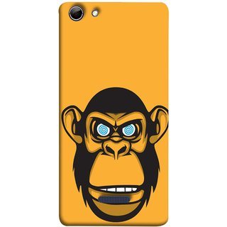 FUSON Designer Back Case Cover for Micromax Canvas Selfie 3 Q348 (Orange Background Open Ears Black Hairs Jungle Nose)