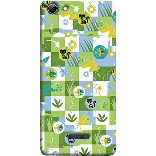 FUSON Designer Back Case Cover for Micromax Canvas Selfie 3 Q348 (Pillow Bedsheet Designs Fish Grass Cat Yellow Flower Pattern)