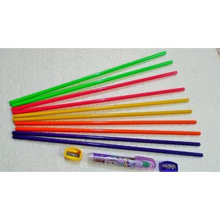 Large size pencil( set of 10 ) with 2 sharpener and scented styler 6 in 1 eraser for long term combo