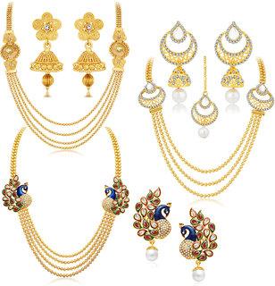 Sukkhi Gold Plated Bridal/Wedding Combo of 3 Necklace Set  3 Pair of Earring  1 Mangtikka for Women