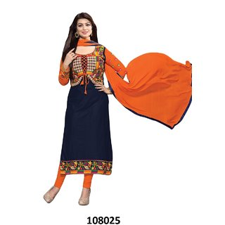 Ffashion cotton Embroidered Salwar Suit Dress Material (Unstitched)SP-BLUECANDY