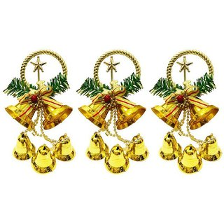 Priyankish Plastic Christmas Tree Decoration Gold-(Pack of 3)