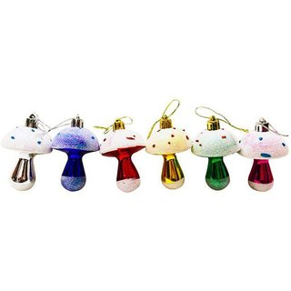 Priyankish Plastic Multicolour Christmas Tree Decoration-(Pack of 6)