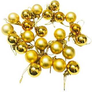 Priyankish Plastic Christmas Tree Decoration Gold-(Pack of 24)