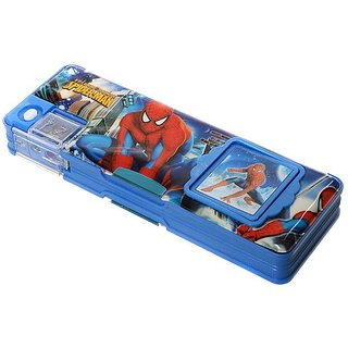 KKD Plastic Spiderman Megnatic Pencil Box With Calculator