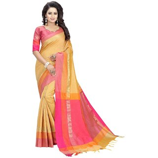 New Designer Modern Yellow Cotton Silk Sari with Blouse-BF232