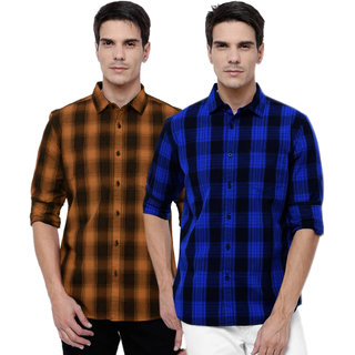 Black Bee Men's Checks Slim Fit Shirt (Pack of 2)