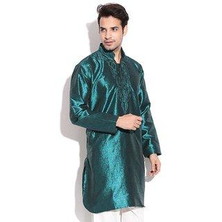 TwoPeople India Dark Green Jacquard Kurta Set