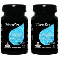Nutree Pure Omega3 Fish Oil 1000 mg - 60 Soft gel capsules Pack of 2