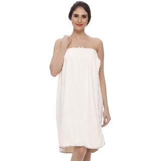 Vixenwrap Cute Cream White Super Soft Cotton Bath Robe