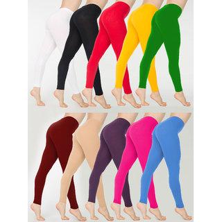 Leggas Multicolor Cotton Lycra Leggings (Set of 10)