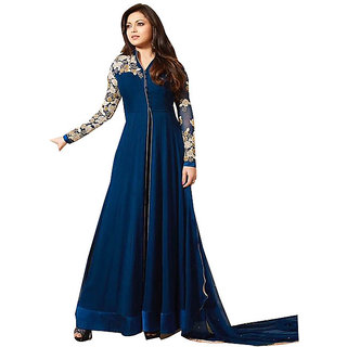 Ffashion Georgette Embroidered Salwar Suit Dress Material (Unstitched)SP-BLURSLEEVE