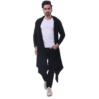 20618d250c4 Buy Bfly Mens Fullsleeve Hooded Flared Shrug-(Black) Online - Get 50% Off