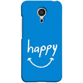 FUSON Designer Back Case Cover for Meizu M2 Note :: Meizu Note 2 (Blue Background Themes Stay Happy White Font)