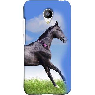FUSON Designer Back Case Cover for Meizu M3 (Black Horse Blue Sky Clouds Look)