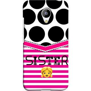 FUSON Designer Back Case Cover for Meizu M3 (Pink Design Big Black Circles Bubbles Sister Bhai Didi)