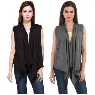 Bfly Women's Sleeveless Viscose Shrugs-Pack of 2 (Black & Grey)