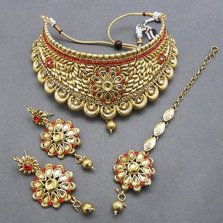 JewelMaze Austrian Stone Copper Necklace Set With Maang Tikka-FBA0008B
