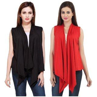 Bfly Women's Sleeveless Viscose Shrugs-Pack of 2 (Black & Red)