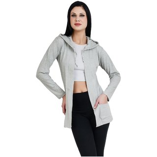 Bfly Women Fullsleeve Hooded Pocket Viscose Shrug-(Grey)