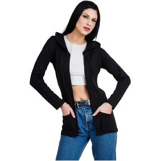 30f4067934c Buy Bfly Women Fullsleeve Hooded Pocket Viscose Shrug-(Black) Online - Get  50% Off
