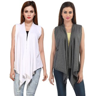 Bfly Women's Sleeveless Viscose Shrugs-Pack of 2 (White::Grey)