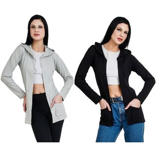 Bfly Women Fullsleeve Hooded Pocket Viscose Shrug-(Grey & Black)