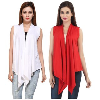 Bfly Women's Sleeveless Viscose Shrugs-Pack of 2 (White::Red)