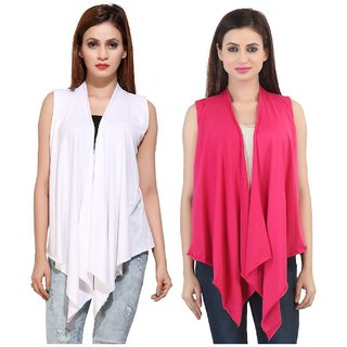 Bfly Women's Sleeveless Viscose Shrugs-Pack of 2 (White::Pink)