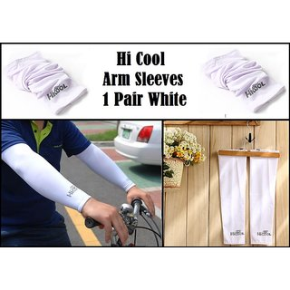 Hi Cool 1 Pair White   Arm Sleeves Sun Protection For Girls