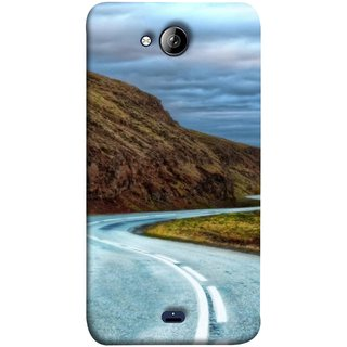 FUSON Designer Back Case Cover for Micromax Unite 3 Q372 :: Micromax Q372 Unite 3 (Scenic Road And Beautiful Mountains Highway Nature)