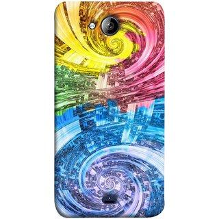 FUSON Designer Back Case Cover for Micromax Unite 3 Q372 :: Micromax Q372 Unite 3 (Yellow Pink Blue Green Galaxy Waves Circles Sprial)