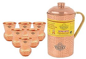 Taluka Handmade Pure Copper Hammered Jug with Brass Handle 2000 ML with 6 Glass 300 ML each -Serving Storage water Good Health Benefit Yoga Ayurveda