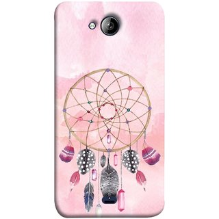 FUSON Designer Back Case Cover for Micromax Unite 3 Q372 :: Micromax Q372 Unite 3 (Pink Circle Design Birds Feathers Diamonds Ruby )