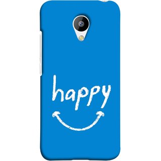 FUSON Designer Back Case Cover for Meizu M3 (Blue Background Themes Stay Happy White Font)