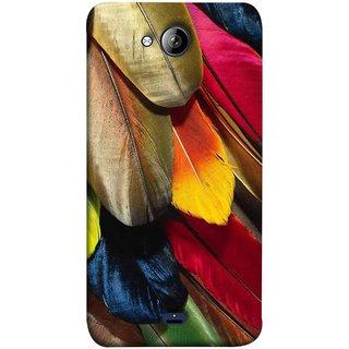 FUSON Designer Back Case Cover for Micromax Unite 3 Q372 :: Micromax Q372 Unite 3 (Birds Feathers Parrot Peacock Long Blue Colour)