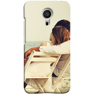 FUSON Designer Back Case Cover for Meizu M2 Note :: Meizu Note 2 (Beautiful Husband Wife Lovers Valentines Sitting Sea Shore)