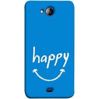 FUSON Designer Back Case Cover for Micromax Unite 3 Q372 :: Micromax Q372 Unite 3 (Blue Background Themes Stay Happy White Font)