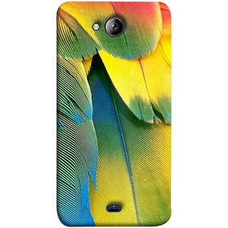 FUSON Designer Back Case Cover for Micromax Unite 3 Q372 :: Micromax Q372 Unite 3 (Birds Feathers Parrot Peacock Best Back Cover )