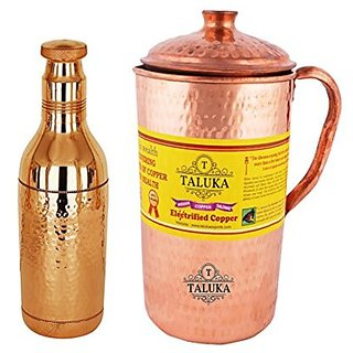 Taluka Copper Hammered Jug 2000 ML with 1 Water Bottle 1700 ML Storage water Good Health Benefit Yoga Ayurveda Pack Of 2