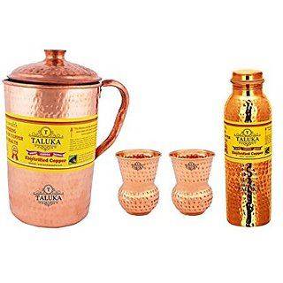 Taluka Copper Hammered Jug 2000 ML with Leak Proof Joint Free Water Bottle 1000 ML, with 2 Cup Glass 300 ML - Storage water Good Health Benefit Yoga Ayurveda