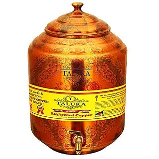 Taluka (Dia-7quot x Height-15.5quot Inches) Pure Copper Water Pot Dispenser Matka Water Tank Water Storage Capacity - 17 Liter Weight - 1600 Grams for use Storage Drinking Water Restaurant Hotel Home Ware Gift Item Home Decore Good Health Benefi