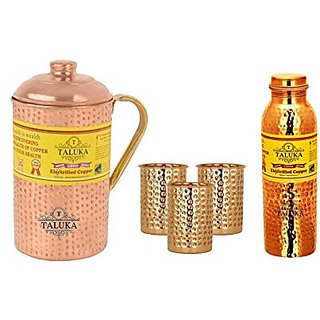 Taluka Set Of 5 Copper Hammered Joint Free Leak Proof Water Bottle 1000 ML, Jug with Brass Handle 2000 ML with 3 Glass 300 ML -Storage water Good Health Benefit