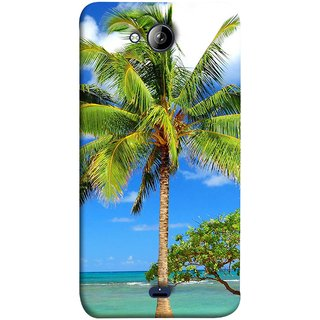 FUSON Designer Back Case Cover for Micromax Unite 3 Q372 :: Micromax Q372 Unite 3 (Palmtrees At The Beach Sea Blue Sky New Horizons )
