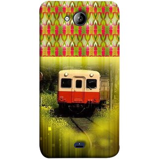 FUSON Designer Back Case Cover for Micromax Unite 3 Q372 :: Micromax Q372 Unite 3 (Old Trains Sunshine Yellow Flowers Express Mail )