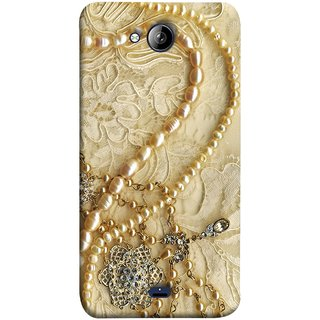 FUSON Designer Back Case Cover for Micromax Unite 3 Q372 :: Micromax Q372 Unite 3 (Perals Diamonds Pendent Gold Hand Embroidery Stitches)