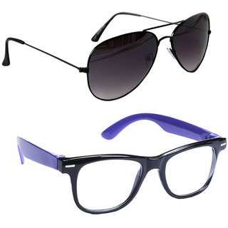 Combo of Sunglasses With Black Aviator and Transparent Wayfarer Style in Blue