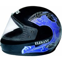JMD Elegant Full Face Black Blue Graphic, ISI Certified Helmet  //  Imported Cushioning For Comfort Fit  Poly Carbonate Visor For Better Visibility  Scratch Less Shell For Longer Life  Safety Without Compromise