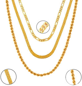 3 Gold Plated Chains Combo by Sparkling Jewellery (22 Inches)